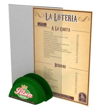 table tent con servilletero pilsen
