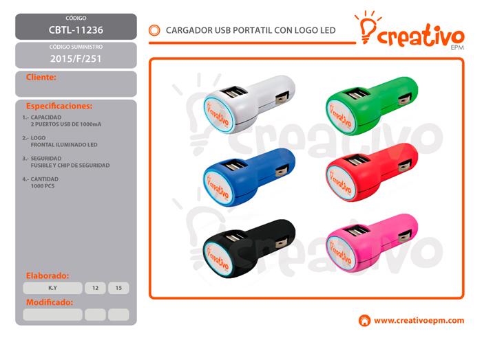 CARGADOR USB LED PARA AUTO CBTL-11236