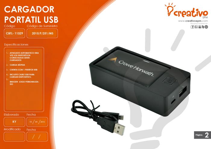 Cargador USB Portatil CBTL-11329