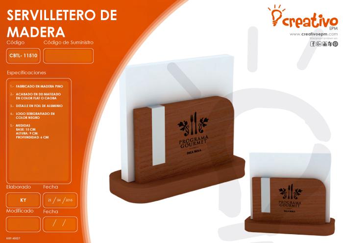 Servilletero de Madera CBTL-11510